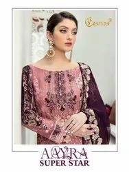 Cosmos Aayra Super Star Fox Georgette Embroidered Pakistani Suit Catalog