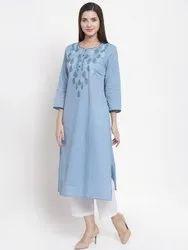 Blue Cotton Jacquard Embroidered Kurti