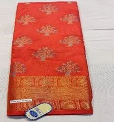 Party Wear Red Banglori Silk Fabric, 6.3 m (with blouse piece)