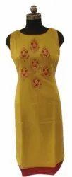 Casual Wear Straight Chanderi Silk Patch Work Kurti, Wash Care: Machine wash