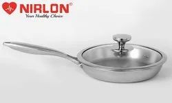 22cm Nirlon Platinum Tri-ply Stainless Steel Frying Pan with Glass Lid