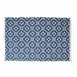 Rectangular Woven Hand Loom Cotton Carpet, For Home, Size: 4x6