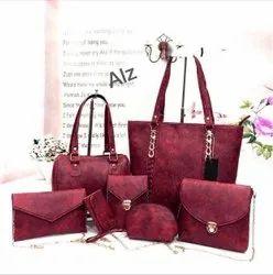 Ladies Maroon Handbag Set