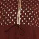 Janasya Women''s Brown Poly Crepe Kurta(JNE3396)