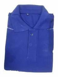 Cotton Half Sleeve Mens Plain Blue Collar Neck T Shirt, Size: S-XL