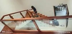 Teek Wood Railing with glass railing