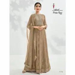 Ieba Anarkali Georgette Semi Stitched Dress Material, Dry clean