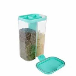 Transparent Plastic 2 in 1 Food Storage Container Jars for Kitchen, Capacity: 2000mL