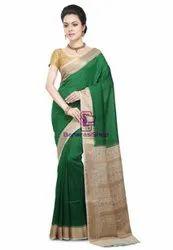 5.5 m (separate blouse piece) Festive Wear Dark Green Pure Banarasi Muga Silk Handloom Saree, With Blouse Piece