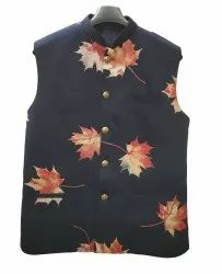 Cotton Blend Navy Blue(Base) Designer Printed Nehru Jacket, Size: 36 To 46