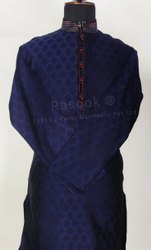 Navy Blue Mens Brocade Kurta Pajama