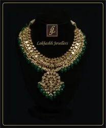 Golden & Green 22kt south indian Kundan Gold Necklace, Box