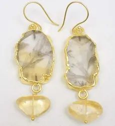 Natural Citrine Quartz Earning With Gold Plated