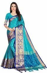 Leeza Store Wedding Wear Blue Woven Banarasi Jacquard Poly Silk Saree, 5.5 m (separate blouse piece)