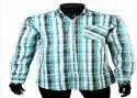 Collar Neck Casual Wear Mens Green Cotton Checkered Shirts