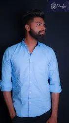 Junglee Mens Sky Blue Plain Cotton Shirt, Machine wash