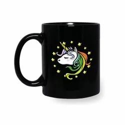 Unicorn Printed Black Coffee Mugs
