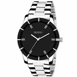 Be Invaders Analog Mans Wrist Black And Silver Chain Watch