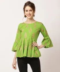 Casual Wear 3/4Th Sleeves Green Floral Print Girls Top