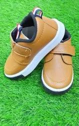 Leather Daily wear Kids Brown Shoes, Size: 4