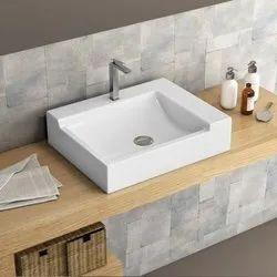 Ceramic Table Top Block Square White Countertop Basin, Dimension: 500 X 400 X 120 Mm