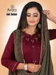 Azara Gul Bahar Maska Silk With Embroidery And Plazzo Dress Material Catalog