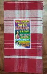 Checked Naya Zamana White Red Cotton Gamcha, 540 GSM, Size: 34 Inch X 72 Inch