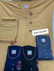 Sunil Textile Stitched Party Wear Fancy Embroidery Cotton Suit, Machine wash