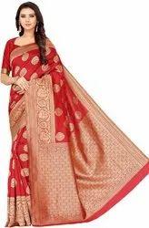 Leeza Store Party Wear Red Printed Self Design Fashion Jacquard Saree, 5.5 m (separate blouse piece)
