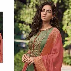 Mini Silk Self Embroidery Unstitched Salwar Suit