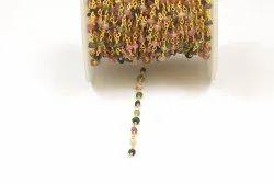 Natural Tourmaline Handmade Gold Plated Beaded Rosary Chain