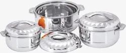 3 pieces Stainless Steel Lexi Treat Designer Lid with Double Gouted Bowl Gift Set, For Hotel/Restaurant
