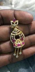 Golden Brass Ladies Fashion Imitation Earrings