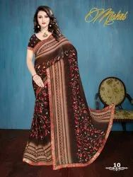 Multicolor Party Wear Ladies Fancy Polyester Saree, 6 m (with blouse piece)