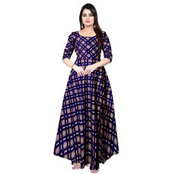 Blue Rayon Women Wedding Gown, Size: Free Size