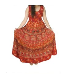 Printed Red Jaipuri One Piece Dress, Size: M
