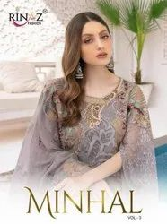 Rinaz Fashion Minhal vol 3 Fox Georgette With Work Pakistani Salwar Suit Catalog