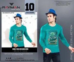 Blue Round Men Cotton t Shirt, Size: XL