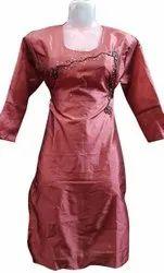 Cotton Formal Wear Peach Designer Ladies Kurti, Size: XL, Wash Care: Handwash