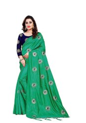 Party Wear Printed Peacock Silk Saree, With blouse piece, 5.5 m (separate blouse piece)