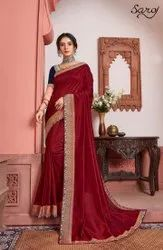 Maroon Color Vichitra Silk Border Saree