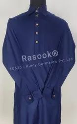 Navy Blue Collar Kurta Pajama