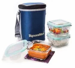 Blue Signoraware Glass Lunch Box, For Office, 3 Containers 1 Bag