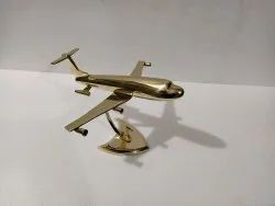 Brass Aeroplane Model On Stand Jet Plane