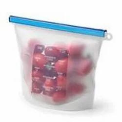 Transparent D1080 Reusable Silicone Airtight Leakproof Food Storage Bag - 1 ltr
