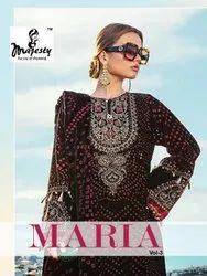 Majesty Maria Vol 3 Jam Silk Digital Printed Karachi Dress Material Catalog