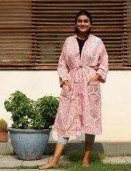 Hand Block Print Kimono Robe