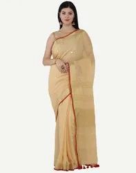 Border Party Wear Designer Ladies Chiffon Sarees, 6 m (with blouse piece)