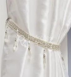 White Crystal Beaded Curtain Tieback