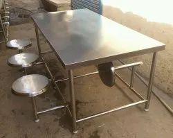 Mascot Silver Steel Dining Table, For Restaurant, Size: Six Seater